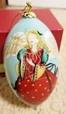 Pier 1 Hand Painted Li Bien Glass Teardrop Ornament 2018 Angel W/ Harp & Dove
