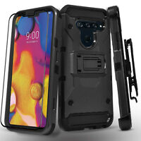 For LG V40 ThinQ Phone Case, Tank Armor Full Cover+Tempered Glass Protector