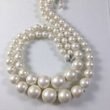 VINTAGE 2 STRAND SILK WHITE MOONGLOW LUCITE PLASTIC BEADED NECKLACE CHOKER 16""