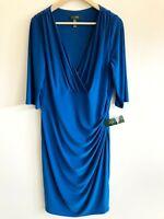 New Lauren Ralph Lauren Dress 14W Stretch Ruched V Neck Career Jersey Knit Blue