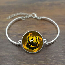 Harry Potter Hufflepuff Badg Woman Glass Tibet silver  Infinite Bangle Bracelets
