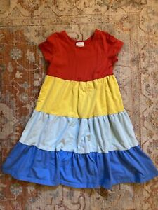 Hanna Andersson Girl 130 Size 8 Colorful Colorblock Short Sleeve Twirl Dress