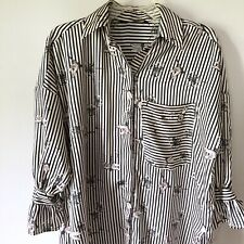 Zara Striped Dragonfly Blouse Size XS Long Satin Tie Sleeves Button Down Tunic