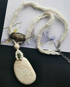 """20"""" 3rows seed glass,white howlite turquoise stone beaded Chunky Necklace  A5"""