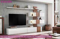 Anbauwand Wohnwand Schrankwand QUILL PVC Hochglanz Push - Click Led Beleuchtung