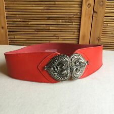 Vintage 80s Runway ETRUSCAN Style RED Leather SILVER Buckle WAIST Cinch BELT M