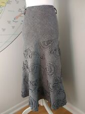 KLASS COLLECTION BLACK GREY TWEEDY FLECK  MIDI FLIPPY A-LINE SKIRT UK SIZE 12