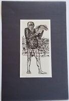 "Leonard Baskin ""Man of Peace ""  Mounted b/w offset Lithograph 5"" x 10"" 1973"