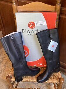 BLONDO CANADA AQUA PROTECT Black Leather Tall Boots Waterproof Women's 8.5 M NIB