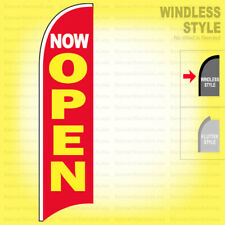 Now Open Windless Swooper Flag 25x115 Ft Feather Banner Sign Rb