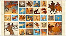 "WILD HORSES FABRIC MUSTANG SUNSET COWBOYS RODEO DAN MORRIS COTTON PATCH  23""x44"""