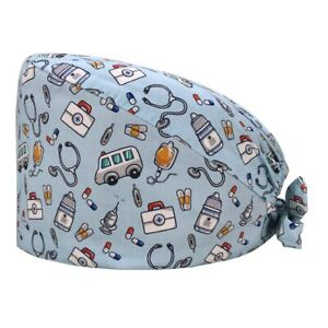 Dental Cotton Colorful Hat Clinic Surgical Nurse Head Cover Medical Print Women