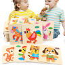 Kids Baby Wooden Funny Toys Wood Animal Puzzle Learning Educational Jigsaw Toy