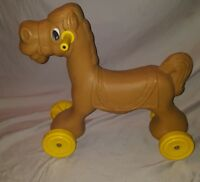 Vintage Ride On Brown Horse Donkey Blow Mold Plastic Wheels Pony Toy