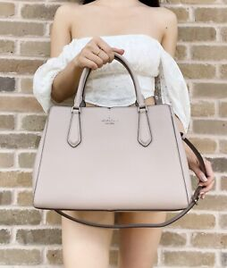 Kate Spade Tippy Medium Triple Compartment Satchel Leather Muted Taupe Leather