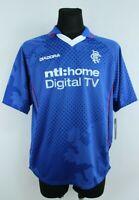 Rangers Diadora BNWT Bleu Aquaforme Col Manches Courtes Football T-Shirt TAILLE