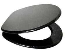 Universal Bathroom Toilet Seat With Fixings Wooden Black Glitter Toilet Seat New