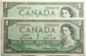 1954 Canada $1 Dollar Lot of 2 Freaky Serial Numbers with 8s #12236