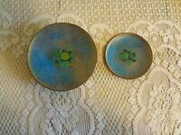 Vintage MCM Mid Century Modern enamel over copper bowl dish set lot Blue Green
