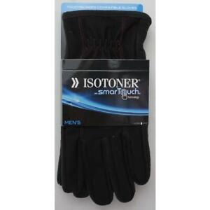 Isotoner NEW L Black Solid Nylon/Polyester Fashion Men's Gloves & Mittens $55