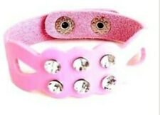 Crystal Diamante Light Pink Faux Leather Unique Design Wristband with Press Stud