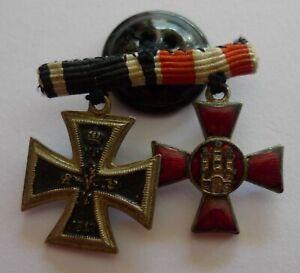 Eisernes Kreuz EK 2. Klasse 1914  Hanseatenkreuz emailliert Miniatur 1,5 mm