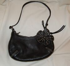NORDSTROM Black Leather Womens Purse With Decorative Flower