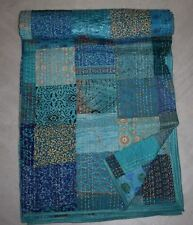 Indian silk patola kantha quilt handmade bedspread blanket bedding blanket twin