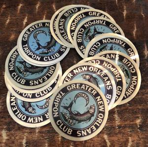 "Greater New Orleans LA Tarpon Club Metal Sticker Lot of 18 3"" Fishing Boating"