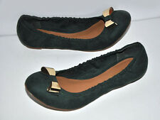 ShoeDazzle Hunter Green Gold Bow Faux Suede Ballet Flats Sz.8 NWD