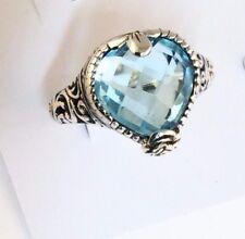 Sterling Silver Pear Shaped Cushion Cut Blue Topaz Filigree Size 8&1/4 Ring R123
