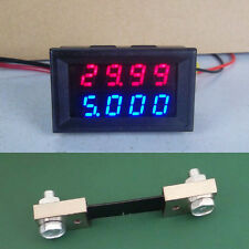 0-100V 100A DC Digital LED Voltmeter Ammeter Amp Volt Meter + 100A shunt 12v 24v