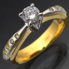 Stylish White Yellow DIAMOND 18k Solid GOLD RIGHT HAND RING Val=$2240 Sml Sz K