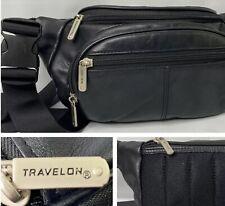 Travelon Fanny Pack Travel Belt Bag Leather Pouch Black Adjustable