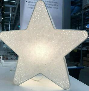 IKEA STRALA Lampe Dekoleuchte Papier Tischlampe Dekolampe Stern Weiß 36cm NEU