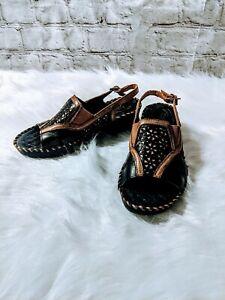 Ariat Black Leather Slingback Block Heel Sandals Women's Size 7.5B