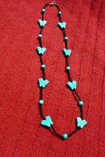 **Turquoise Butterflies Beaded Necklace** - 21 Inch - Native American