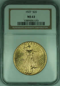 1927 Gaudens $20 Double Eagle Gold Coin NGC MS-63 (G)