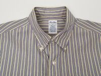 Brooks Brothers Makers Men's Shirt Size 16 - 2 Large Relaxed Blue Yellow Stripe