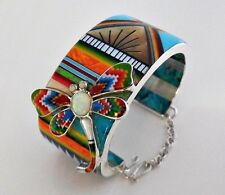 """DAINTY MULTICOLOR DRAGONFLY TURQUOISE SPINY .925 SILVER CUFF BRACELET SZ 5-1/8"""""""