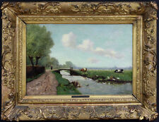"""Jules V. Merle French (19/20th Century) Oil on Wood """"Landscape with Stream"""""""