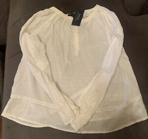 Polo Ralph Lauren Girls White Cotton Embriodery Accent tunic Size 14 NWT