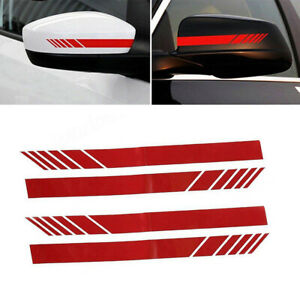 4Pcs Car SUV Side Mirror Stickers Pure Red Style Decoration Trim Kit Universal