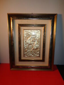 F.O. Signed Sterling Silver 3D Plaque of 2 Horses Playing Framed Made in Italy
