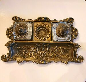 Vintage Brass Inkwell Double Metal Crafters Solid Brass & Crystal