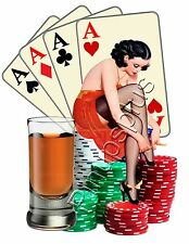 Poker Pinup Girl Waterslide Decal Sticker for Guitars Toolboxes Lockers S801