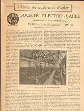PARIS DE PENTHIEVRE STE ELECTRO-CABLE CABLES CUIVRES ET ACIER 1925