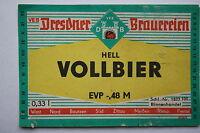 14539 DDR Bier Etikett Dresdner Brauereien Vollbier HELL 1972 old beer label GdR