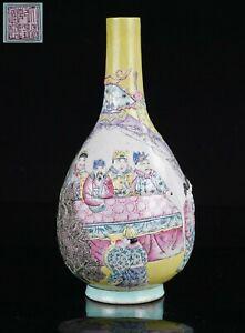 Antique Chinese Famille Rose Porcelain Relief Figure Vase QIANLONG 19th C QING