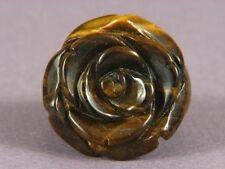 "Ring Tiger Eye 1"" Carved Rose SZ 9.5 6639"